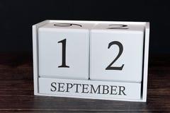 Biznesu kalendarz dla Września, 12th dzień miesiąc Planisty organizatora data lub wydarzenie rozk?adu poj?cie zdjęcie royalty free
