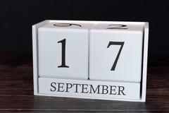 Biznesu kalendarz dla Września, 17th dzień miesiąc Planisty organizatora data lub wydarzenie rozk?adu poj?cie zdjęcia stock