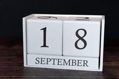 Biznesu kalendarz dla Września, 18th dzień miesiąc Planisty organizatora data lub wydarzenie rozk?adu poj?cie obrazy stock