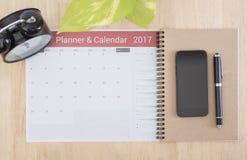 Biznesu Kalendarzowy planista 2017 na biurka biurze organizacja Obraz Royalty Free