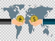 Biznesu menniczy pojęcie wekslowe monety dolarowe ethereum ręką wręczać na tle kartografują świat, przejrzysty tło bezprawny ilustracji