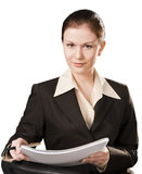 biznesu odosobniony portreta kobiety writing Zdjęcia Stock