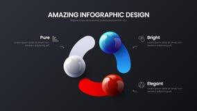 Biznesu 3 opcji infographic prezentacji wektorowe pi?ki ilustracyjne Korporacyjny marketingowy analityka projekta uk?ad royalty ilustracja