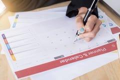 Biznesu planisty Kalendarzowy spotkanie na biurka biurze organizacja Obrazy Stock