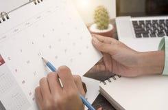 Biznesu planisty Kalendarzowy spotkanie na biurka biurze organizacja Fotografia Stock