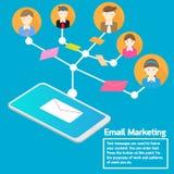 Biznesu pojęcia smartphone dosłania emaila drużynowy marketing ilustracja wektor