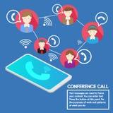 Biznesu pojęcia smartphone drużynowa konferencja telefoniczna ilustracja wektor