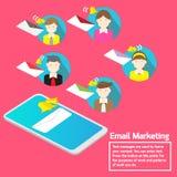 Biznesu pojęcia smartphone powiadomienia emaila drużynowy marketing royalty ilustracja