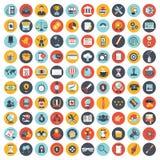 Biznesu, technologii i finansów ikona ustawiająca dla, i Płaski wektor royalty ilustracja