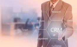 Biznesu, technologii, interneta i klienta związku zarządzania pojęcie, Biznesmena crm naciskowy guzik na wirtualnych ekranach Fotografia Royalty Free