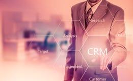 Biznesu, technologii, interneta i klienta związku zarządzania pojęcie, Biznesmena crm naciskowy guzik na wirtualnych ekranach Zdjęcie Royalty Free
