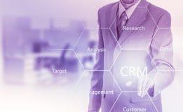 Biznesu, technologii, interneta i klienta związku zarządzania pojęcie, Biznesmena crm naciskowy guzik na wirtualnych ekranach Zdjęcia Royalty Free