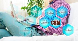 Biznesu, technologii, interneta i klienta związku zarządzania pojęcie, Biznesmena crm naciskowy guzik na wirtualnych ekranach Zdjęcia Stock