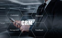 Biznesu, technologii, interneta i klienta związku zarządzania pojęcie, Biznesmena crm naciskowy guzik na wirtualnych ekranach Obrazy Stock