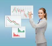 Bizneswomanów rynków walutowych rysunkowa mapa w powietrzu Obraz Stock