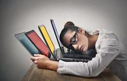 bizneswoman śpiący Zdjęcia Stock