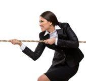 Bizneswoman ciągnie arkanę Zdjęcia Royalty Free