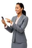 Bizneswoman Czytelnicza wiadomość tekstowa Na Mądrze telefonie zdjęcie royalty free