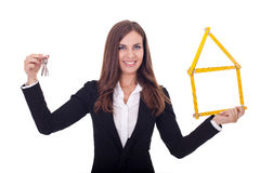 Bizneswoman daje kluczom Zdjęcie Stock