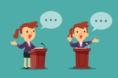 Bizneswoman daje mowie przy podium ilustracji