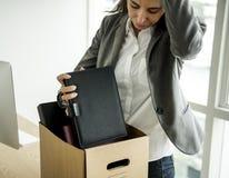 Bizneswoman dostać Podpalającego Bezrobotnego uczucie Stresuje się Obraz Stock