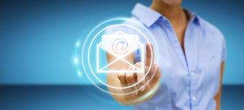 Bizneswoman dotyka 3D renderingu emaila latającą ikonę z jej f Obrazy Stock