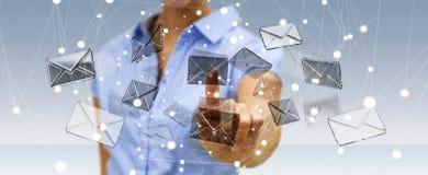 Bizneswoman dotyka 3D renderingu emaila latającą ikonę z jej f Fotografia Stock