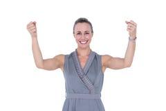Bizneswoman gestykuluje z nastroszonymi rękami Obrazy Royalty Free