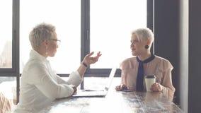 Bizneswoman i klient dyskutuje ewentualny kontraktacyjny salowego zdjęcie wideo