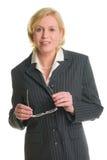 Bizneswoman i szkła zdjęcia royalty free