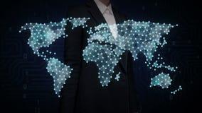 Bizneswoman ikony wzruszający Ogólnospołeczni ludzie, robią globalnej światowej mapie, internet rzeczy Pieni??na technologia royalty ilustracja
