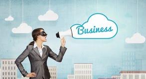 Bizneswoman jest ubranym czerni maskę Zdjęcia Royalty Free