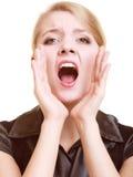 Bizneswoman kobieta dzwoni dla pomocy Problem w pracie Fotografia Royalty Free