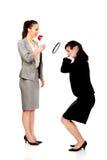 Bizneswoman krzyczy w megafonie Zdjęcie Stock