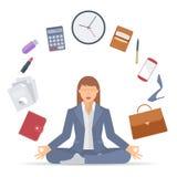 Bizneswoman medytacja A ilustracja wektor