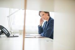 Bizneswoman mocno przy pracą w biurze Zdjęcie Stock