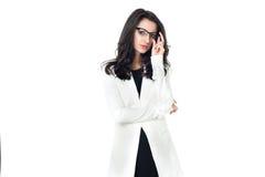 Bizneswoman na białym tle Zdjęcia Stock