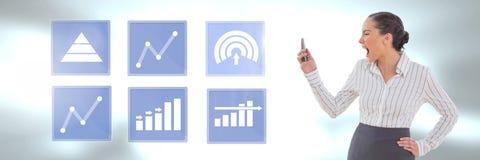 Bizneswoman na telefonu i biznesowej mapy statystyki ikonach Zdjęcie Royalty Free
