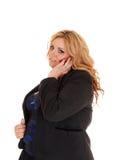 Bizneswoman na telefonu komórkowego telefonie komórkowym Zdjęcia Royalty Free