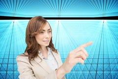 Bizneswoman naciska niewidzialnego klucz Obraz Royalty Free