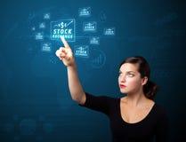 Bizneswoman naciska nowożytnych biznesów guziki Zdjęcia Stock