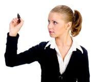 bizneswoman odizolowywający pióra ekran Zdjęcia Royalty Free