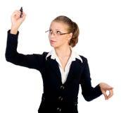 bizneswoman odizolowywający pióra ekran Fotografia Stock
