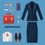 Bizneswoman odziewa Moda przypadkowego stylu garderoby spódnicy kurtki kostiumu torby żeńskiego biurowego kapeluszowego zegarka b royalty ilustracja
