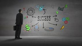 Bizneswoman patrzeje ścianę z sukcesu brainstorm zbiory