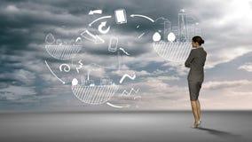Bizneswoman patrzeje brainstorm w pustyni ilustracja wektor