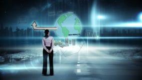 Bizneswoman patrzeje cyfrowego brainstorm zbiory