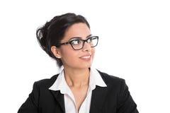 Bizneswoman patrzeje z ukosa odosobnionego na bielu z widowiskami fotografia stock