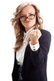 Bizneswoman pokazuje pięść Obrazy Stock