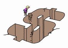 Bizneswoman pozycja dolarową kształt dziurą Zdjęcia Royalty Free